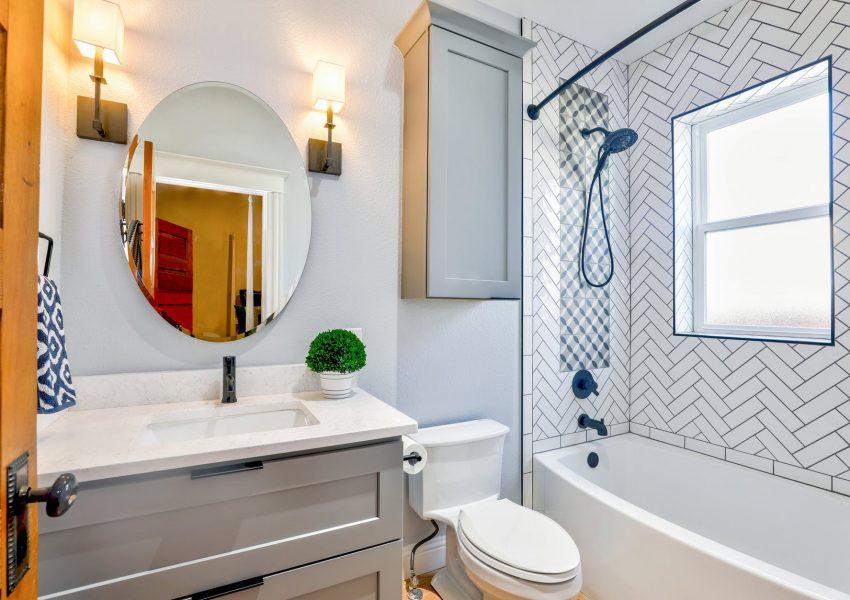 white ceramic tiled bathroom area